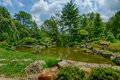 A Perfect Summer Day Overlooking The Koi Pond At The Shofuso Jap Stock Image - 42040191