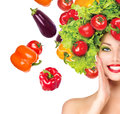 Girl With Vegetables Hairstyle Stock Image - 42041061