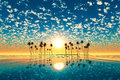 Gold Sunset Above Tropic Island Turquoise Royalty Free Stock Photography - 42042077