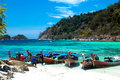 Fisherman Sailed Longtail Boat To Visit Beautiful Beach Of Koh Lipe, Thailand Stock Photo - 42046150