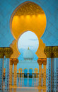 Grand Mosque Golden Archways And Dome At Dusk Royalty Free Stock Photo - 42059675