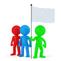 Team Of Coloured People Holding Flag. Isolated. Contains Clipping Path Royalty Free Stock Photo - 42069715