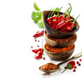 Chili Peppers With Herbs And Spices Stock Photo - 42080320