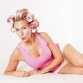 Woman With Curlers In Bed Stock Photos - 42085443
