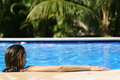 Woman In Pool From Behind Royalty Free Stock Photos - 4218488
