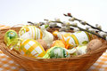 Easter Eggs In A Basket Stock Image - 4219321