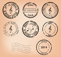 Set - Vector Music Grungy Post Stamps Stock Image - 42100241