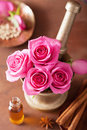 Spa And Aromatherapy Set With Rose Flowers Mortar And Spices Royalty Free Stock Photo - 42129855