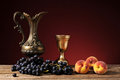 Metal Carafe, Grapes And Peaches Royalty Free Stock Photo - 42133565