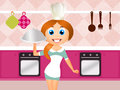 Girl Cooks Royalty Free Stock Photos - 42134178