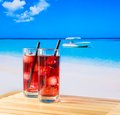 Two Glasses Of Red Cocktail With Straw And Space For Text Royalty Free Stock Image - 42139206