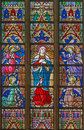 BRUGES, BELGIUM - JUNE 12, 2014: The Virgin Mary On The Windowpane In St. Salvator S Cathedral Stock Images - 42144034
