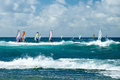 Windsurfers In Windy Weather On Maui Island Stock Photos - 42149183