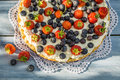Tart With Strawberries And Blueberries Stock Photography - 42157652