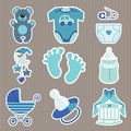 Cute  Icons For Newborn Baby Boy.Strips Background Royalty Free Stock Photos - 42158128