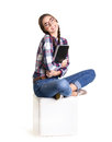 Happy Girl  With Notebook Stock Photo - 42165390