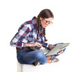 Girl With Notebook Royalty Free Stock Photo - 42165425