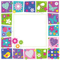 Cute Hearts Flowers And Butterflies Border Royalty Free Stock Images - 42170999