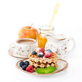 Waffles With Berries, Honey, Milk, Fruit Royalty Free Stock Images - 42173569