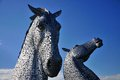Two Horses Heads Made Of Steel. Royalty Free Stock Photography - 42173817
