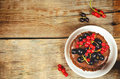 Chocolate Cake Mini With Red And Black Currants Stock Photography - 42190422