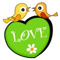 Two Love Birds Sitting On A Heart Stock Photography - 4226292