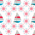 Seamless Sea Pattern With Boats And Hand Wheels Stock Image - 42208931