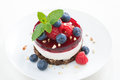 Delicious Cake With Fruit Jelly And Fresh Berries On A Plate Stock Photos - 42209723