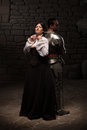 Medieval Knight And Lady Posing Royalty Free Stock Photos - 42214298