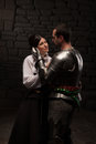 Medieval Knight And Lady Posing Royalty Free Stock Images - 42214299