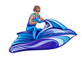 Man Sitting On Water Scooter, Jet Ski Royalty Free Stock Photography - 42217167
