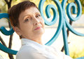Portraits Of Attractive Woman With Short Hair 50 Years In The Pa Stock Photography - 42217872