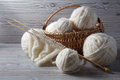 Ball Of Yarn And Knitting On A Table Royalty Free Stock Image - 42218356