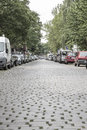 Cobblestone Road With Cars Royalty Free Stock Image - 42219876