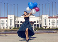 Beautiful Woman In Luxurious Dress With Colorful Balloons Royalty Free Stock Photo - 42221165