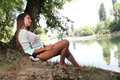 Woman Near The River Stock Image - 42226061