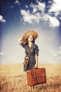 Girl With Suitcase Royalty Free Stock Image - 42231816