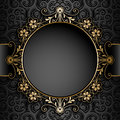 Gold Circle Frame Over Pattern Stock Image - 42243391