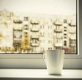 Cup Of Hot Coffee On The Window Royalty Free Stock Photos - 42246048