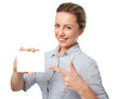 Attractive Young Woman Showing Empty Blank Paper Card Sign With Copy Space For Text Stock Photo - 42252450