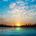 Abstract Nature Background With Silhouette Of London And Sunrise Stock Photography - 42257052