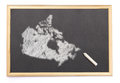 Blackboard With A Chalk And The Shape Of Canada Drawn Onto. (ser Royalty Free Stock Photography - 42257077