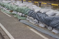 Wall Of Sandbags For Flood Defense 2 Stock Images - 42257914