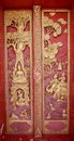 Old Wooden Door Carved Thailand Gold. Royalty Free Stock Photos - 42260298