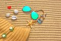 Sunglasses, Straw Hat And  Different Objects On The Beach Sand Stock Image - 42271341