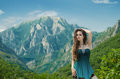 Beauty Girl Outdoors Enjoying Nature Over Mountain Landscape. Be Stock Photo - 42277170