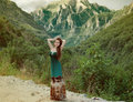 Beauty Girl Outdoors Enjoying Nature Over Mountain Landscape. Be Royalty Free Stock Photography - 42277387
