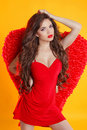 Beautiful Female Angel Model Posing With Red Wings In Dress Isol Royalty Free Stock Photo - 42277855