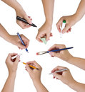 Collection Of Hands Holding Different Stationary Objects Royalty Free Stock Photos - 42296468