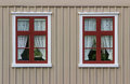 Wall With Windows And Curtains Stock Photography - 42297842